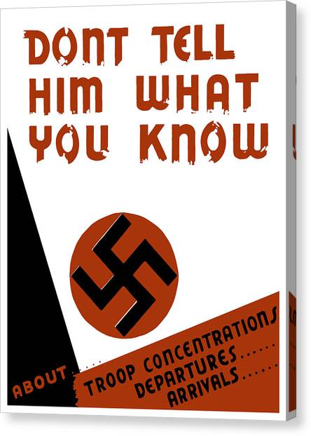 Caricatures Canvas Print - Don't Tell Him What You Know by War Is Hell Store