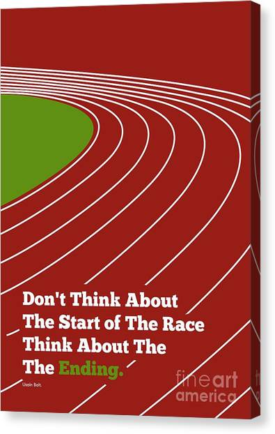 Jamaican Canvas Print - Don't Think About The Start Usain Bolt Sport Quotes Poster by Lab No 4 The Quotography Department