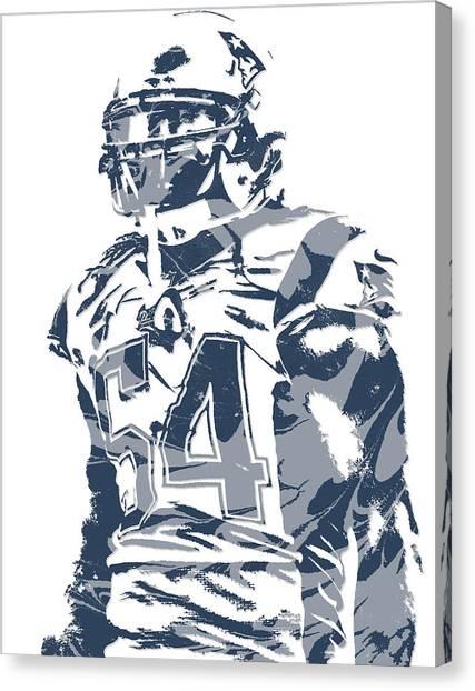 New England Patriots Canvas Print - Donta Hightower New England Patriots Pixel Art 2 by Joe Hamilton