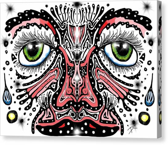 Canvas Print featuring the digital art Doodle Face by Darren Cannell
