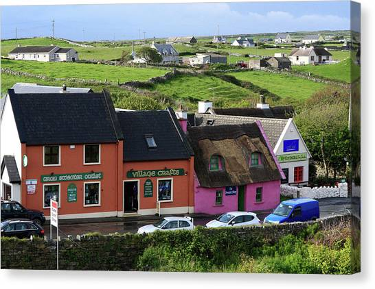 The Cliffs Of Moher Canvas Print - Doolin Village County Clare by Aidan Moran