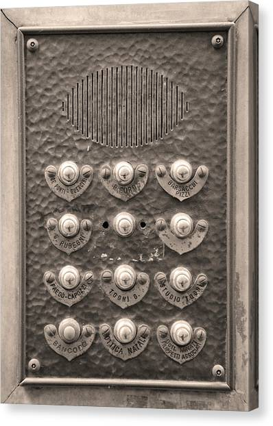 The Uffizi Gallery Canvas Print - Door Bells And Intercom Of Florence Business Building by Shelley Dennis