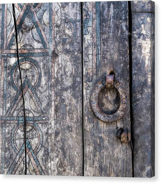 Weathered Canvas Print - Door Detail Santa Fe by Carol Leigh