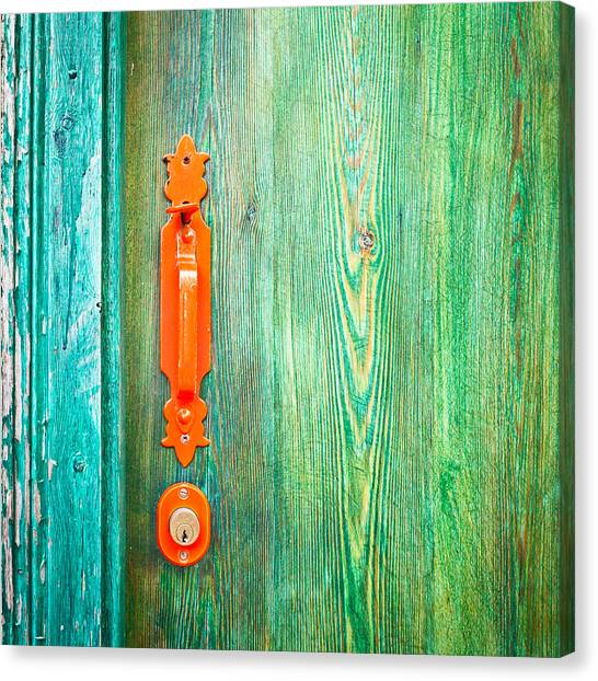Old Wooden Door Canvas Print - Door Handle by Tom Gowanlock