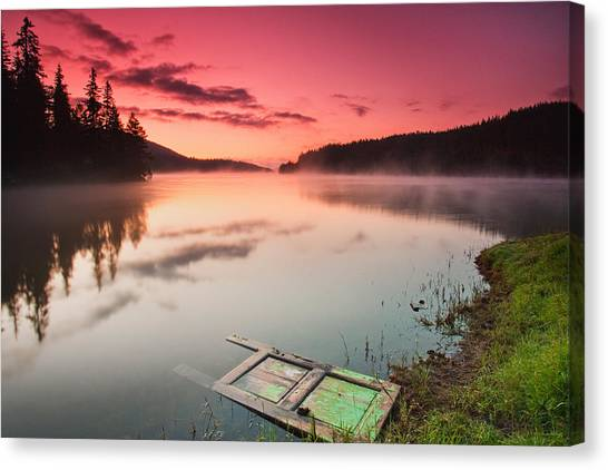 Lake Sunrises Canvas Print - Door In The Lake by Evgeni Dinev