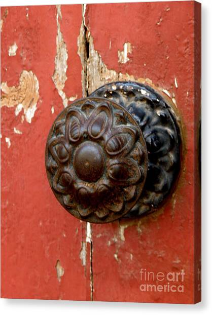 Door Knob On Red Door Canvas Print