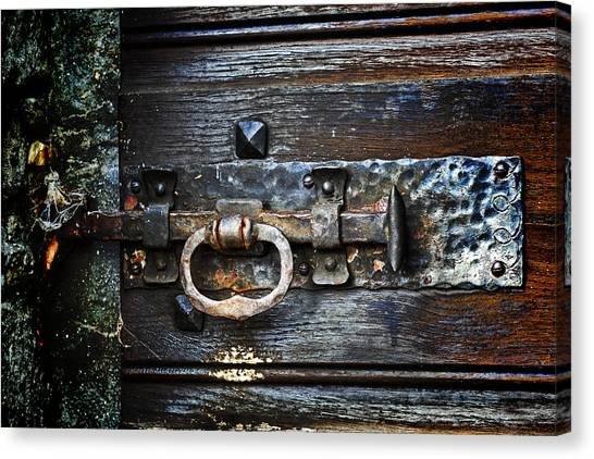 Old Wooden Door Canvas Print - Door Latch by Joana Kruse
