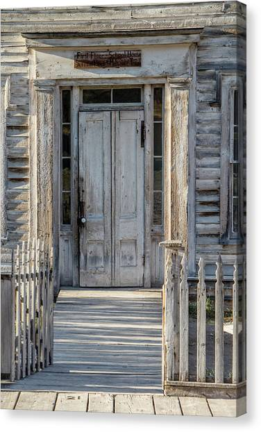 Door Of The Old Bannack Schoolhouse And Masonic Temple Canvas Print
