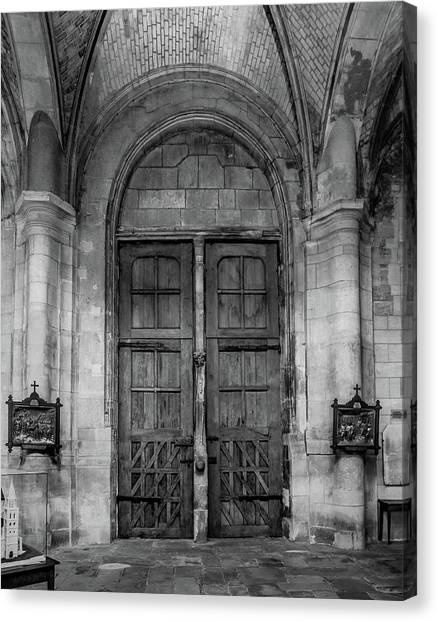 Canvas Print featuring the photograph Poissy, France - Doors From Within, Notre-dame De Poissy by Mark Forte