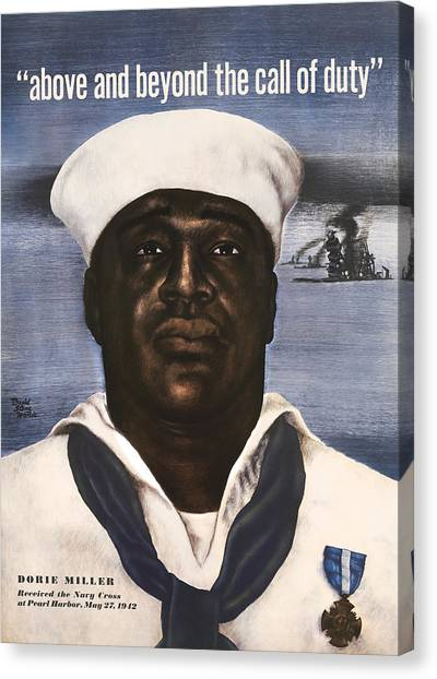 Navy Canvas Print - Dorie Miller - Above And Beyond - Ww2 by War Is Hell Store