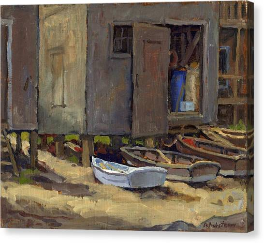 Dories On Fish Beach Canvas Print