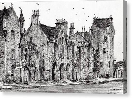 Pen And Ink Drawing Canvas Print - Dornoch by Vincent Alexander Booth