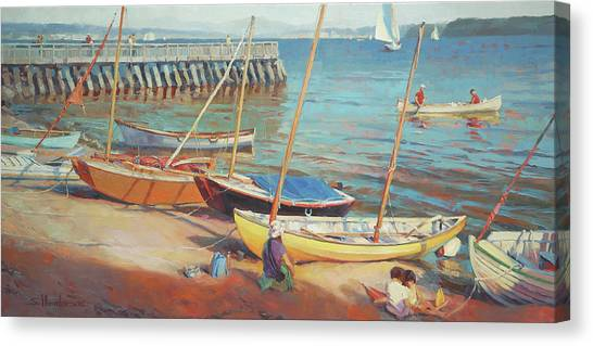 Rowboats Canvas Print - Dory Beach by Steve Henderson