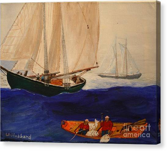 Dory Trawlers On Georges Bank Canvas Print