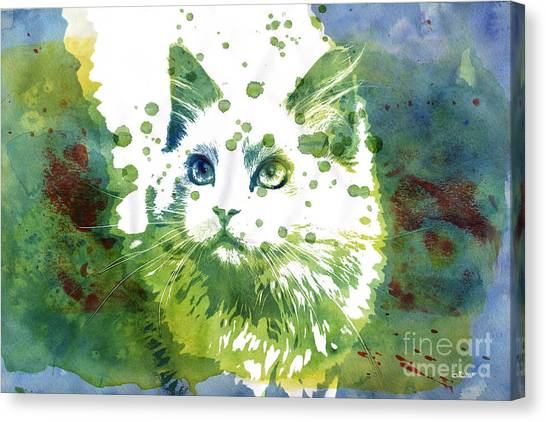 Creative Manipulation Canvas Print - Dotted Cat by Jutta Maria Pusl