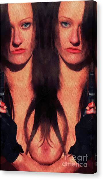 Nipples Canvas Print - Double Agent by Mary Bassett