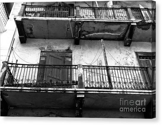 Double Balconies In Panama City Mono Canvas Print by John Rizzuto