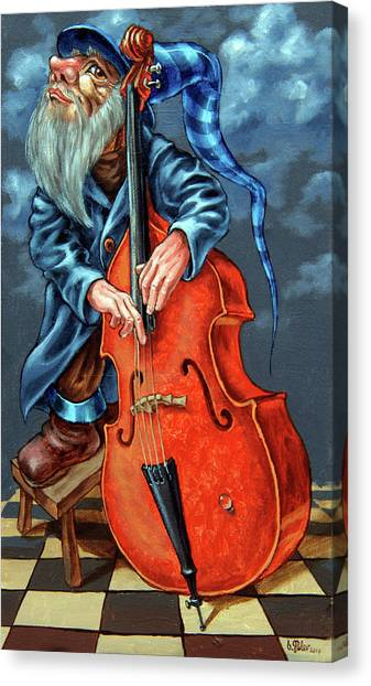 Double Bass And Bench Canvas Print