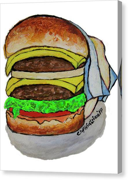 Mayonnaise Canvas Print - Double Cheeseburger by Carol Tsiatsios
