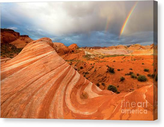 Valley Of Fire Canvas Print - Double Desert Rainbow by Mike Dawson