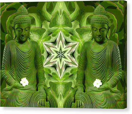 Double Green Buddhas Canvas Print