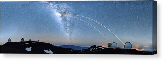 Double Lasers With The Milky Way Panorama Canvas Print