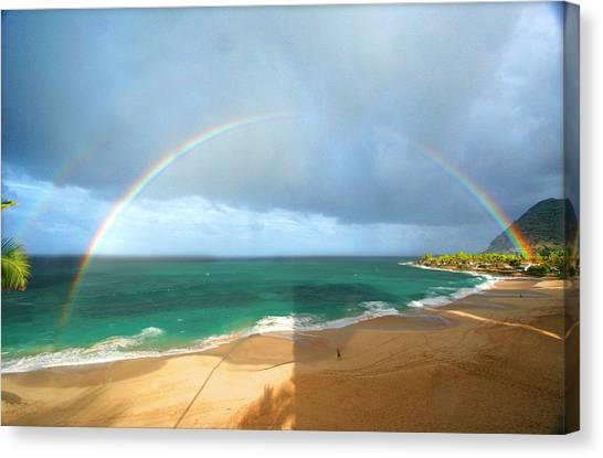 Double Rainbow Over Turtle Beach Canvas Print