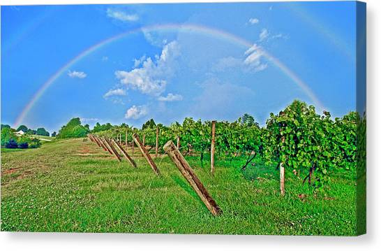 Double Rainbow Vineyard, Smith Mountain Lake Canvas Print
