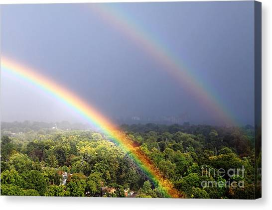 Rainbow Canvas Print - Double Rainbows by Charline Xia