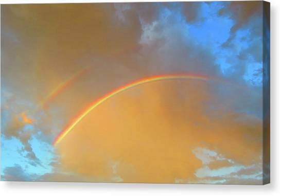 Double Rainbows In The Desert Canvas Print