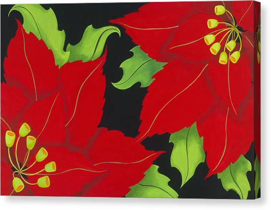 Double Red Poinsettias Canvas Print by Carol Sabo