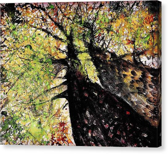 Ansel Adams Canvas Print - Double Trees Red And Green  by Julia S Powell