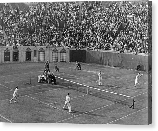 Tennis Racquet Canvas Print - Doubles Tennis At Forest Hills by Underwood Archives