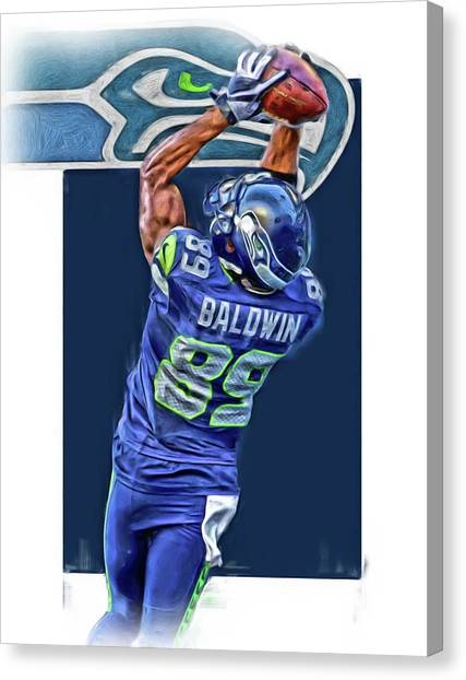 Seattle Seahawks Canvas Print - Doug Baldwin Seattle Seahawks Oil Art 3 by Joe Hamilton