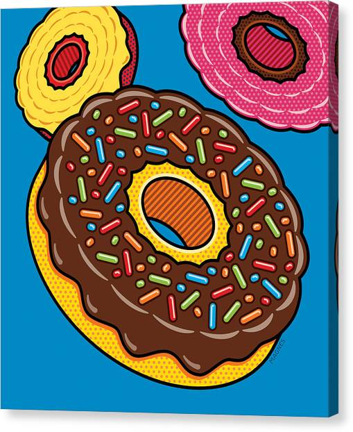 Doughnuts Canvas Print - Doughnuts On Blue by Ron Magnes