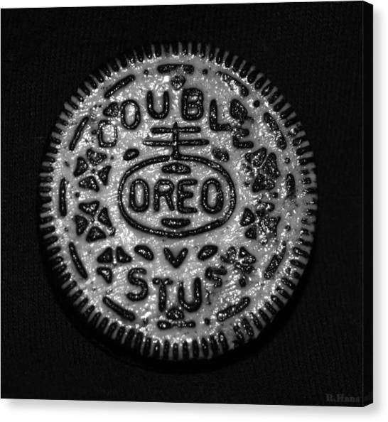 Nabisco Canvas Print - Doulble Stuff Oreo In Black And White by Rob Hans