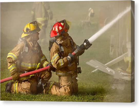 Fire Canvas Print - Dousing The Flames by Todd Klassy