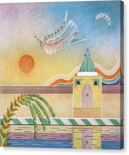 Dove Temple And Sun Canvas Print by Sally Appleby