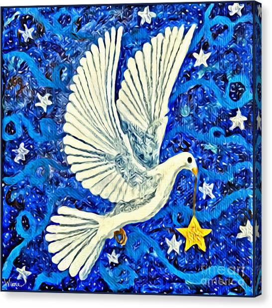 Dove With Star Canvas Print