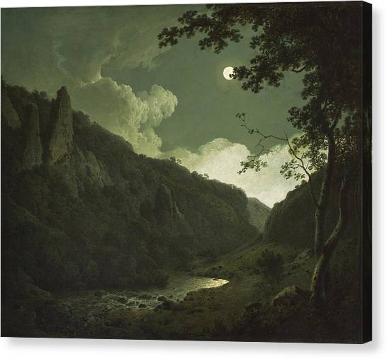 Peak District Canvas Print - Dovedale By Moonlight by Joseph Wright of Derby