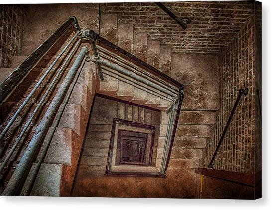 Fibonacci Canvas Print - Down And Around - Staircase by Nikolyn McDonald