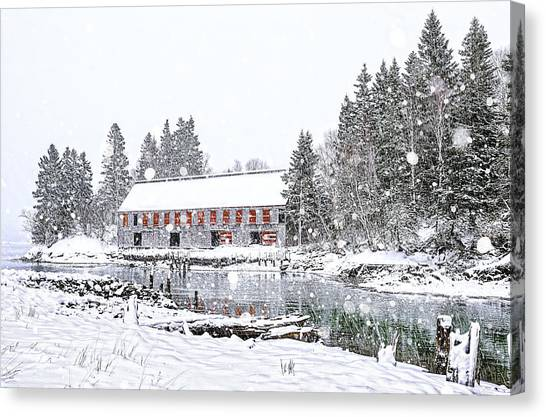 Smokehouses Canvas Print - Down East Maine Smokehouse Snowscape by Marty Saccone