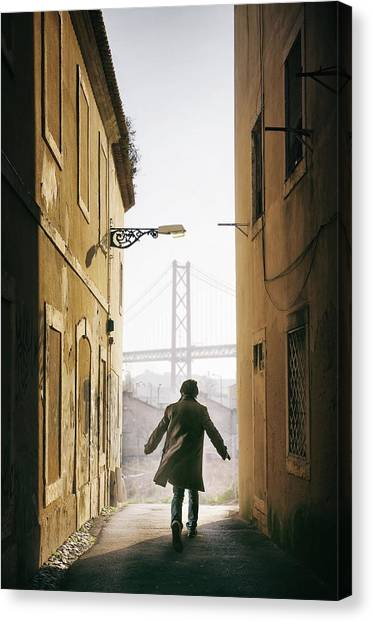 Running Backs Canvas Print - Down The Alley by Carlos Caetano