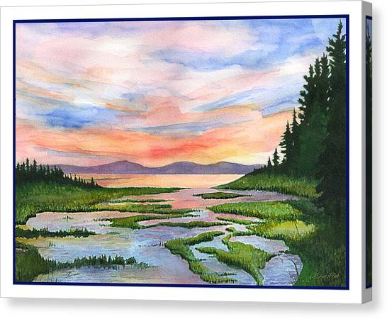 Downeast Sundown Canvas Print by Ernestine Grindal