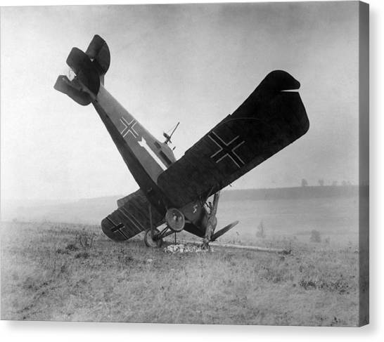 Biplane Canvas Print - Downed German Fighter Plane - World War One - 1918 by War Is Hell Store