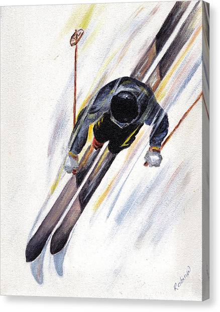 Ski Canvas Print - Downhill Skier by Robin Wiesneth