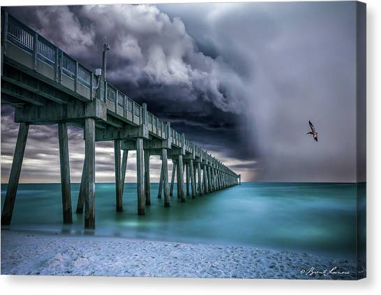 Downpour- Pensacola Beach Canvas Print by Brent Shavnore