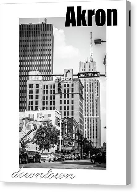 University Of Akron Canvas Print - Downtown Akron by Rosette Doyle