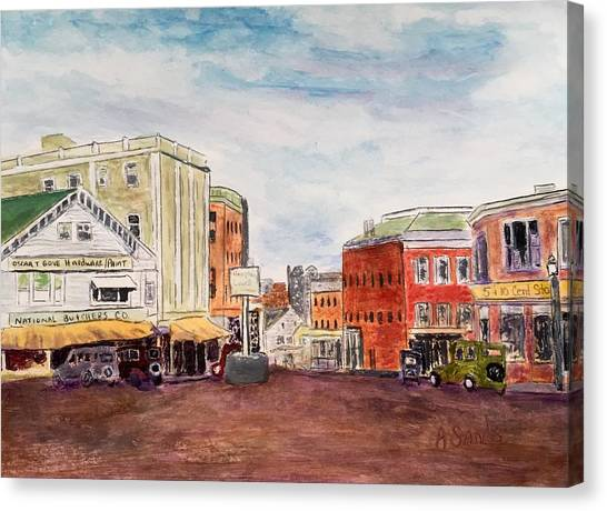 Downtown Amesbury Ma Circa 1920 Canvas Print