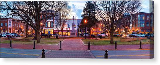 Canvas Print featuring the photograph Downtown Bentonville Arkansas Town Square Panoramic  by Gregory Ballos
